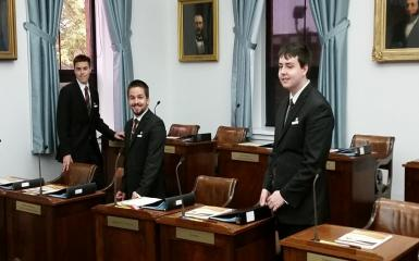An image of student pages preparing the chamber for business